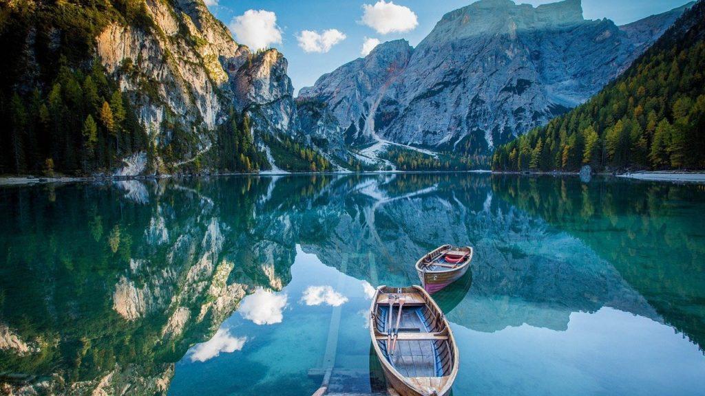 laguna, barco, paisaje