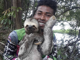jungle guide with sloth